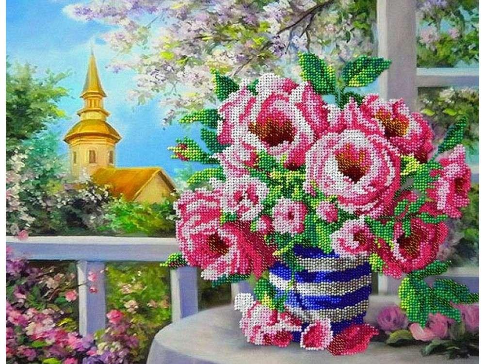 Купить Вышивка бисером, Набор вышивки бисером «Розовый букет», Паутинка, 36x28 см, Б-1280