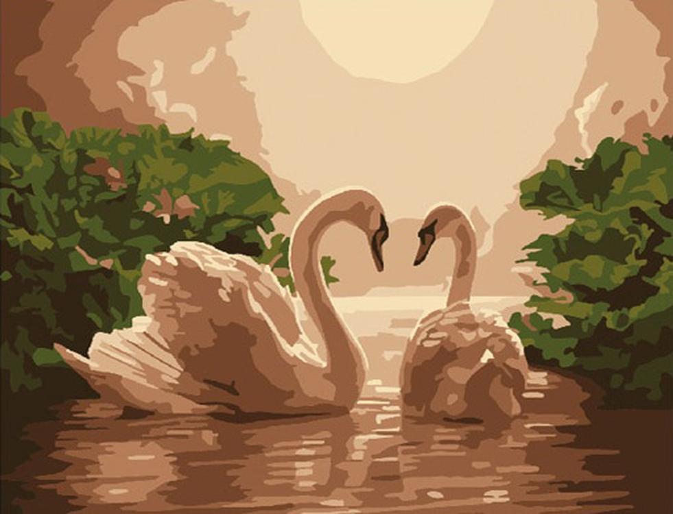 Картина по номерам «Лебединая пара»Molly<br><br>