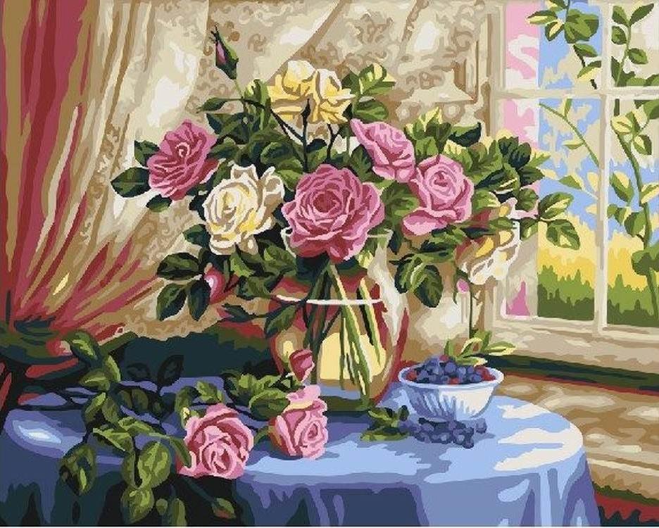 Картина по номерам «Розы и черника»Раскраски по номерам<br><br>