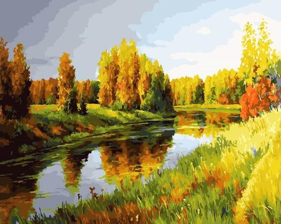 Картина по номерам «Осенняя река» Сергея КурицынаРаскраски по номерам<br><br>