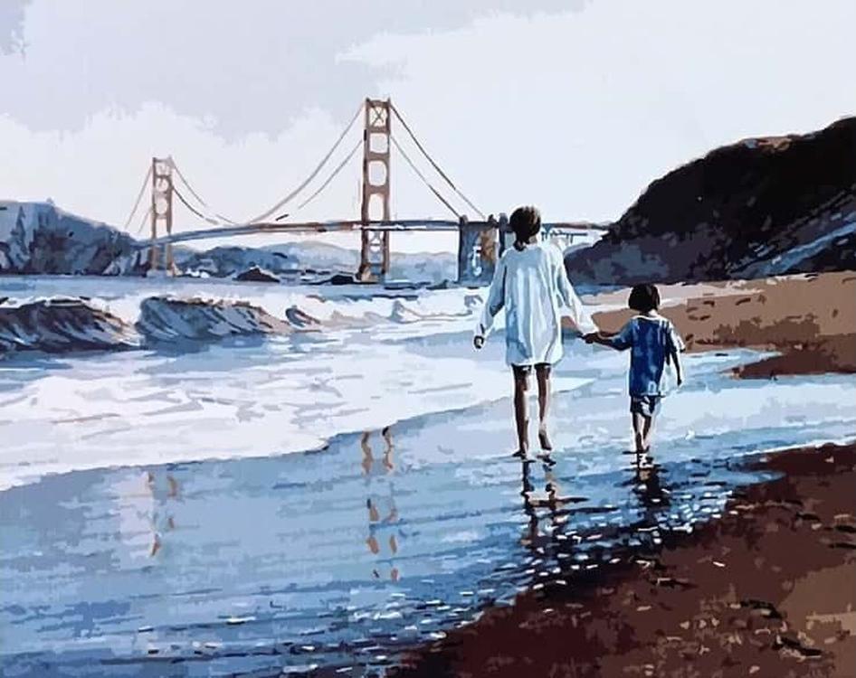 Картина по номерам «Прогулка у воды» Стива ХэнксаРаскраски по номерам<br><br>