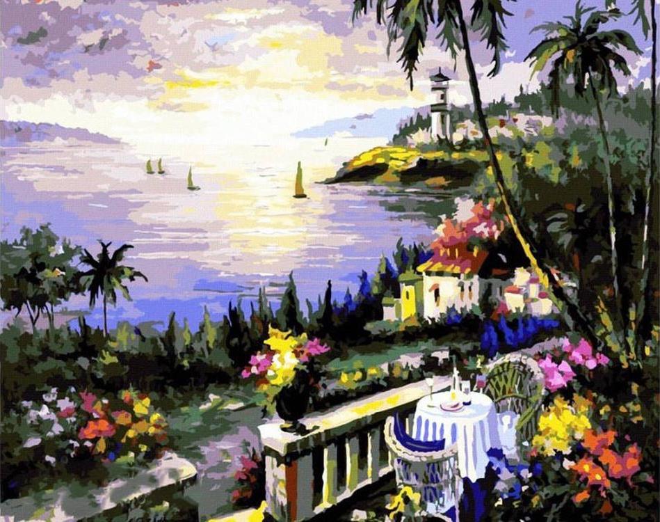 Картина по номерам «Вечерняя бухта» Шери Хатчет Болман - Paintboy (Premium)