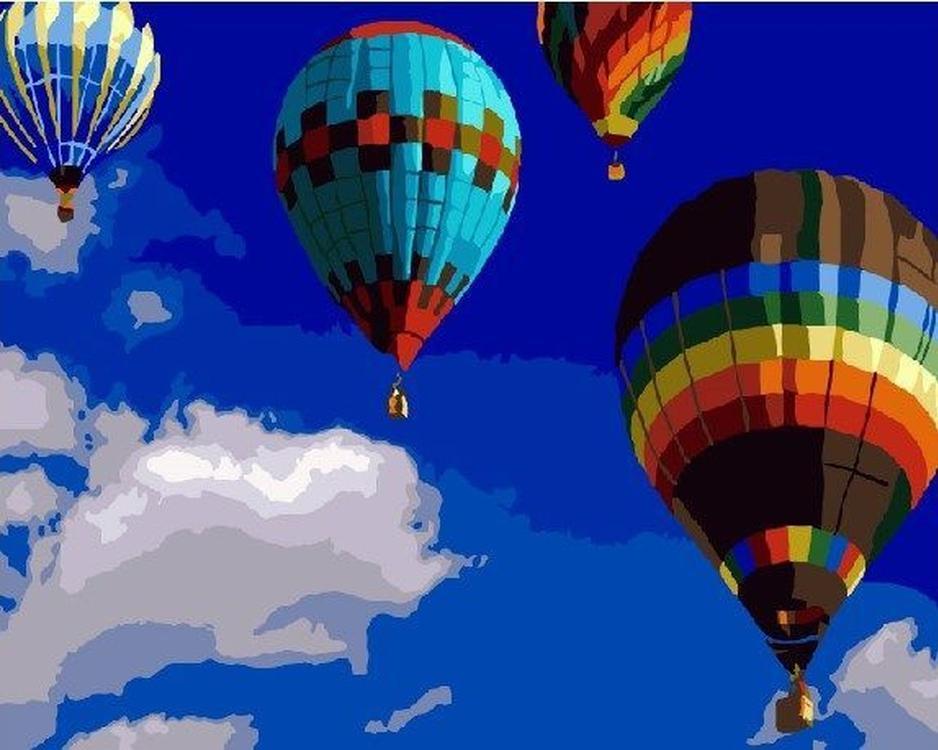Картина по номерам «На воздушном шаре»Раскраски по номерам<br><br>