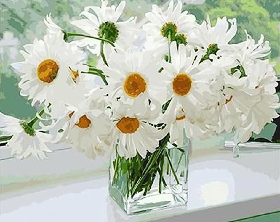 Картина по номерам «Ромашки в вазе»Раскраски по номерам<br><br>