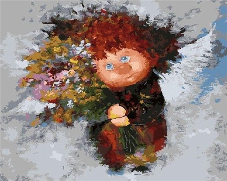 Картина по номерам «Солнечный ангел с цветами» Галины ЧувиляевойРаскраски по номерам<br><br>