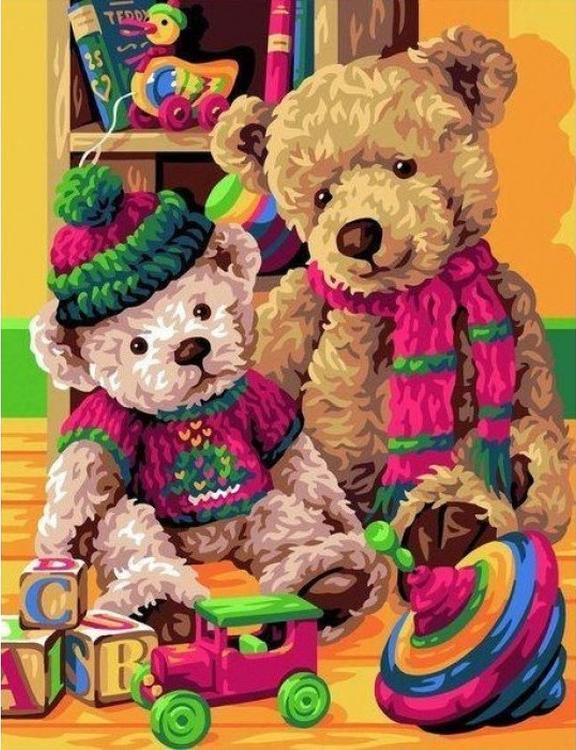 Картина по номерам «Плюшевые мишки»Раскраски по номерам<br><br>