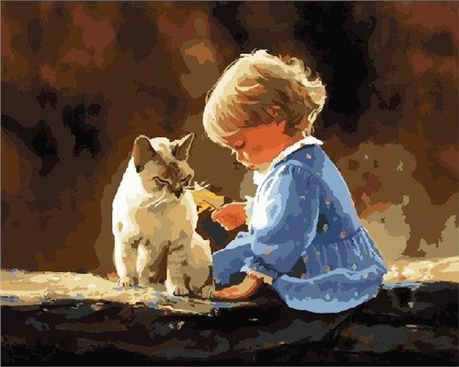 Картина по номерам «Девочка и кошка» Дональда ЗоланаРаскраски по номерам<br><br>
