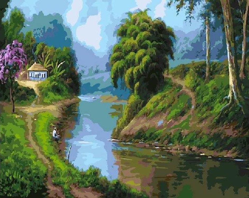 Картина по номерам «Деревенский пейзаж»Раскраски по номерам<br><br>