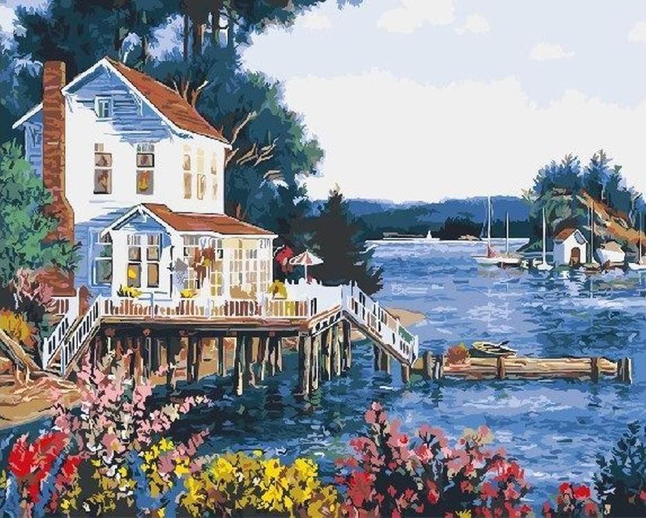Картина по номерам «Пляжный домик» Рэнди ван БикаРаскраски по номерам<br><br>