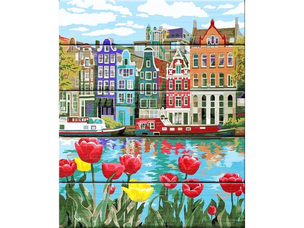 Купить Картина по номерам по дереву Dali «Весна в Амстердаме»