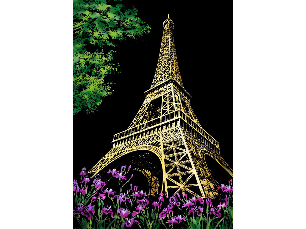 Скретч-картина «Эйфелева башня. Париж» (цветная)Раскраски в стиле граттаж (Скретч-картины)<br>Принцип создания красивой скретч-картины прост, все, что нужно сделать – это «сцарапать» серебристое покрытие с винилового листа, на котором нанесен подробный рисунок. Серебристое покрытие сцарапывается легко, и работа над картиной доставляет невероят...<br>
