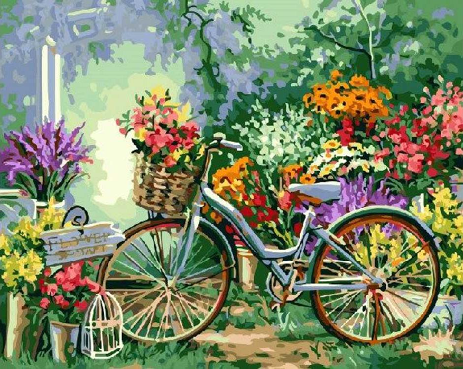 Картина по номерам «Велосипед в саду»