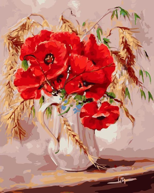 Картина по номерам «Маки во ржи» Натальи Григорьевой