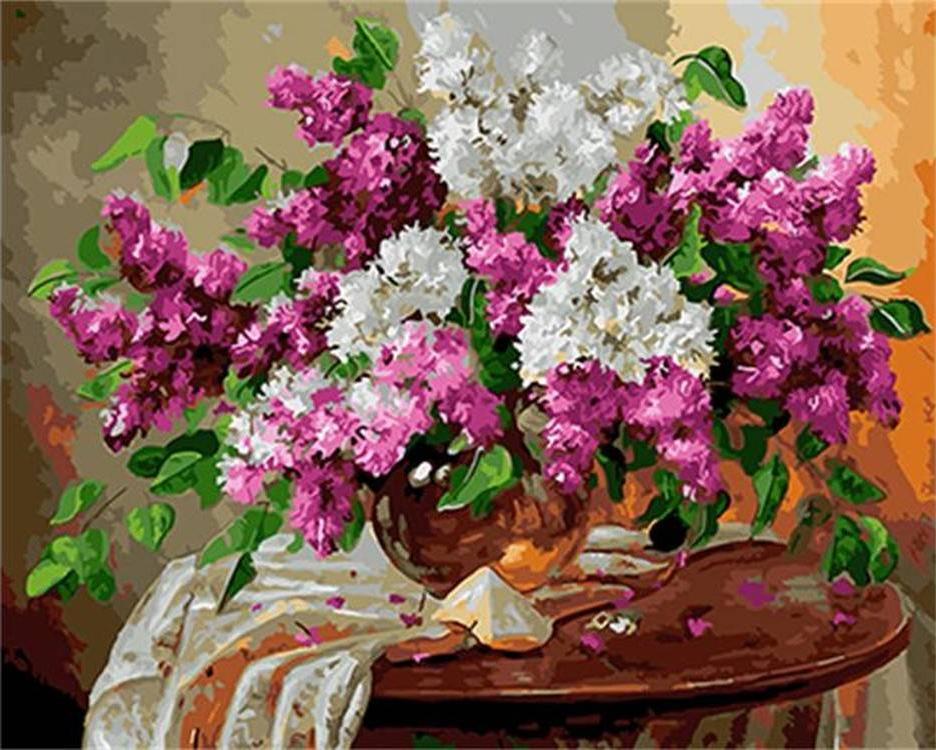 Купить Картина по номерам «Сирень на столике» Владимира Иванова, Paintboy (Premium), Китай