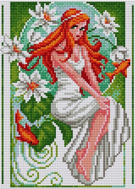 Купить Алмазная вышивка «Фея белых цветов» (на магнитной основе), Вышиваем бисером, 20x28, 5 см, V-90