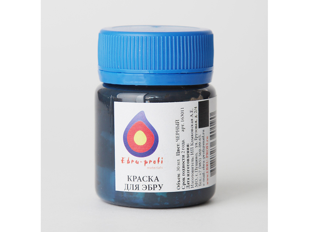 Краска для эбру черная 30 мл, Эбру-Профи