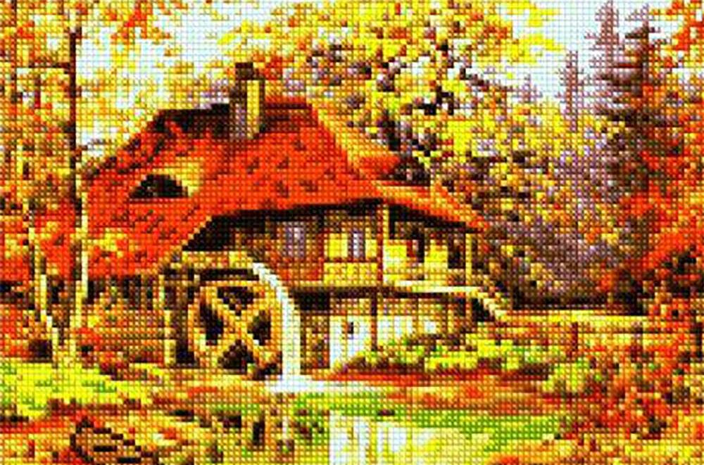 Алмазная вышивка «Водяная мельница» Станислава Вилка