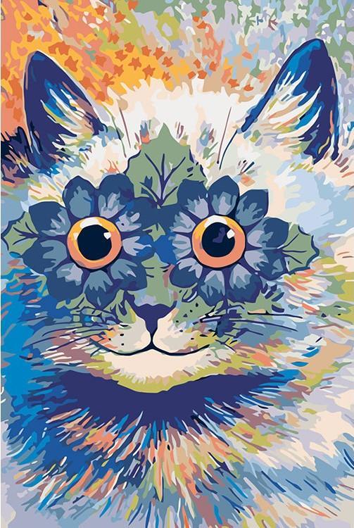 Купить Картина по номерам «Цветочный котик» Луиса Уэйна, Живопись по Номерам, Китай