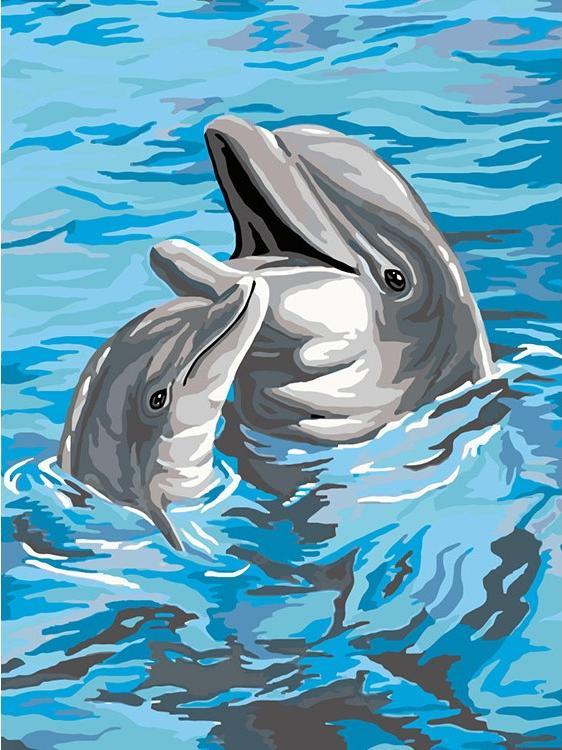 Картина по номерам «Дельфины» фото