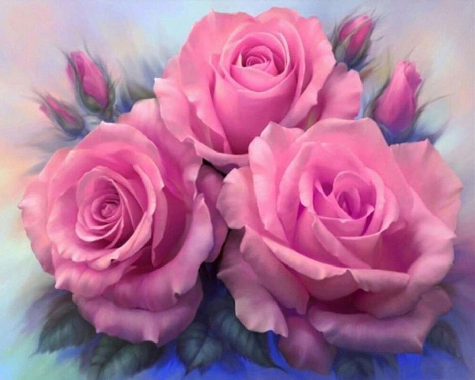 Алмазная вышивка «Розовые розы» Анны Лакисовой