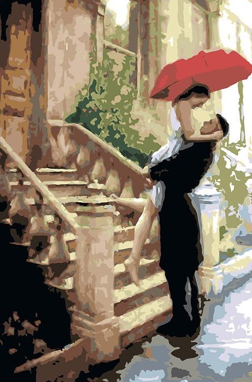 Картина по номерам «Встреча под зонтом» Даниэля дель Орфано