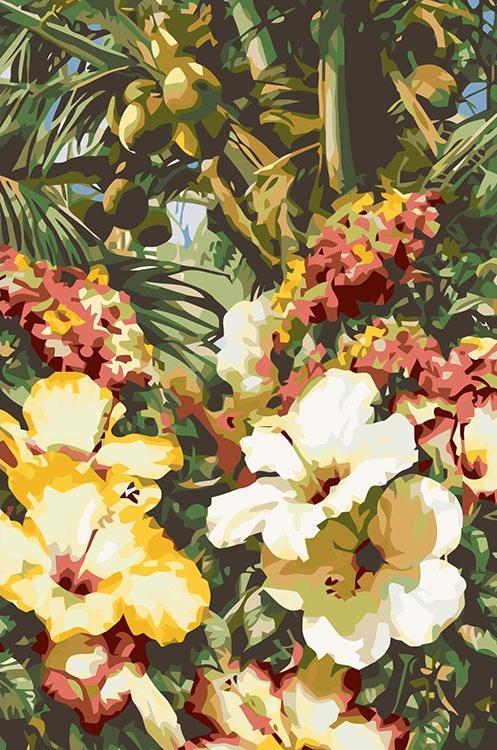Картина по номерам «Тропические цветы»