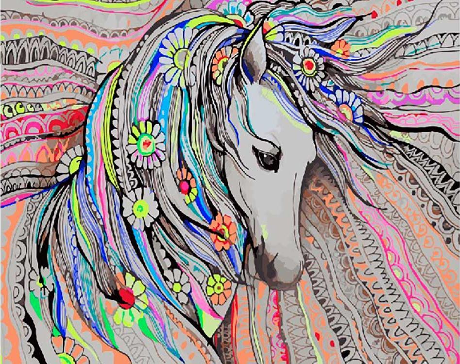 Купить Картина по номерам «Милая лошадка», Paintboy (Premium), Китай