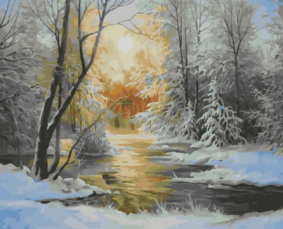 Картина по номерам «Снежная зима» Юрия Корникова