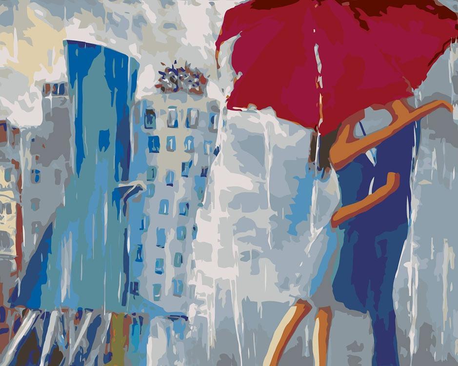 Картина по номерам «Поцелуй под зонтом» Елены Лукиной