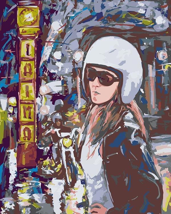 Купить Картина по номерам «Поездка на мотоцикле», Живопись по Номерам, Китай