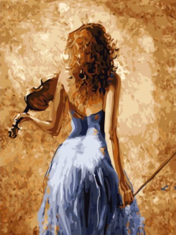 Купить Алмазная вышивка «Девушка со скрипкой» Лены Сотсковой, Цветной