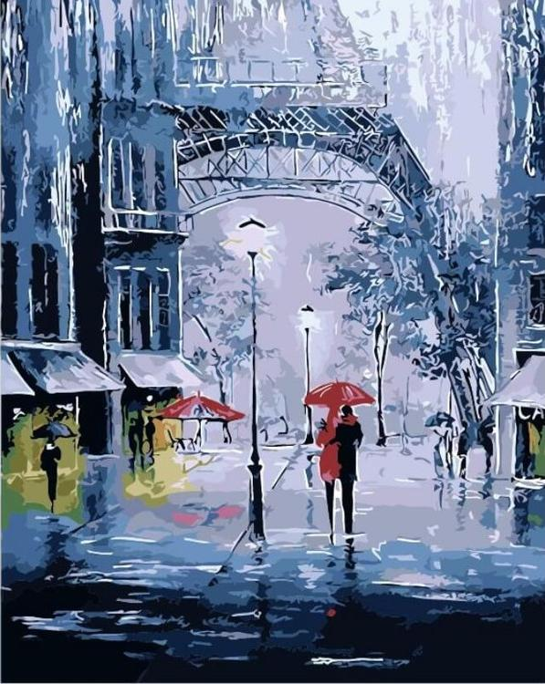 Картина по номерам «Прогулка под дождем»