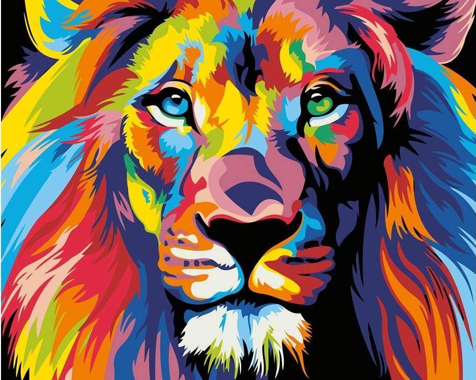 Купить Картина по номерам «Радужный лев» Ваю Ромдони, Живопись по Номерам, Китай
