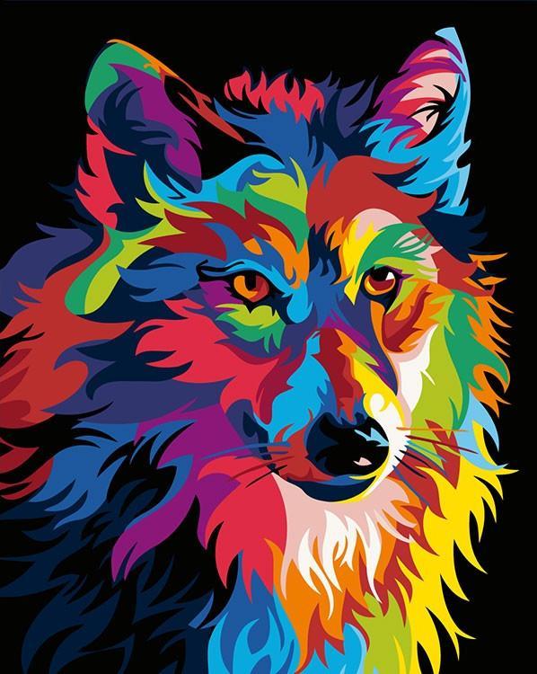Купить Картина по номерам «Радужный волк» Ваю Ромдони, Живопись по Номерам, Китай