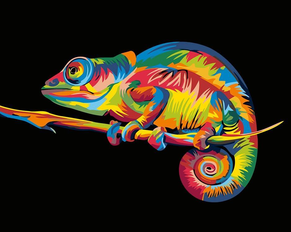 Купить Картина по номерам «Радужный хамелеон» Ваю Ромдони, Живопись по Номерам, Китай
