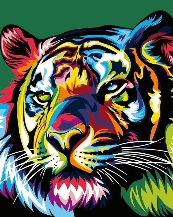 Купить Картина по номерам «Радужный тигр» Ваю Ромдони, Живопись по Номерам, Китай