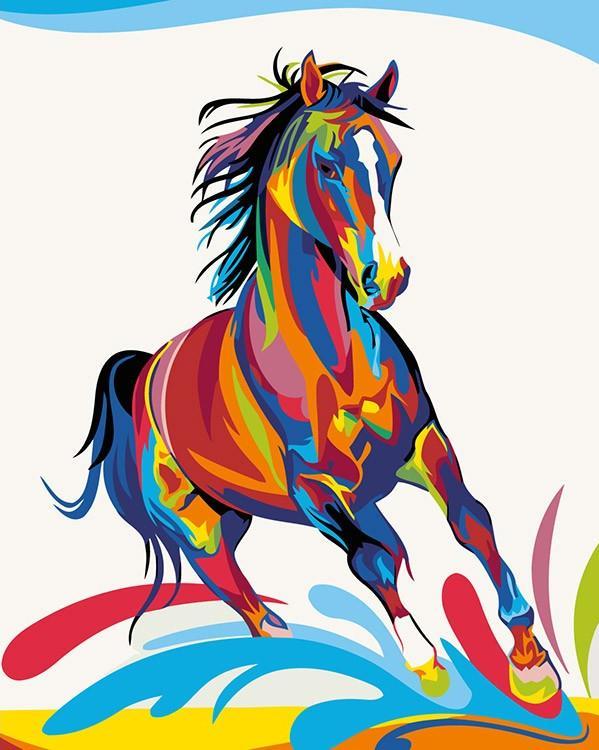 Купить Картина по номерам «Радужный конь» Ваю Ромдони, Живопись по Номерам, Китай