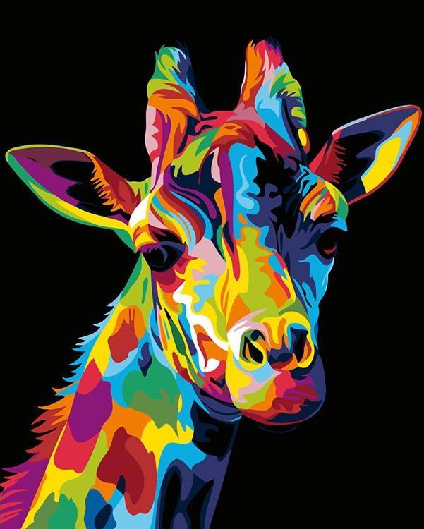 Купить Картина по номерам «Радужный жираф» Ваю Ромдони, Живопись по Номерам, Китай