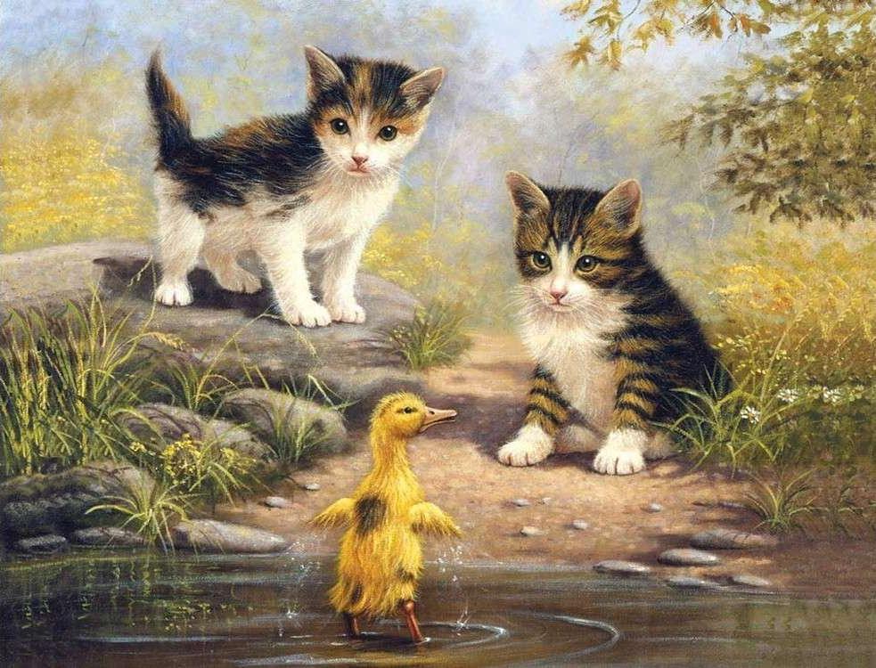 Картина по номерам «Котята и утенок»