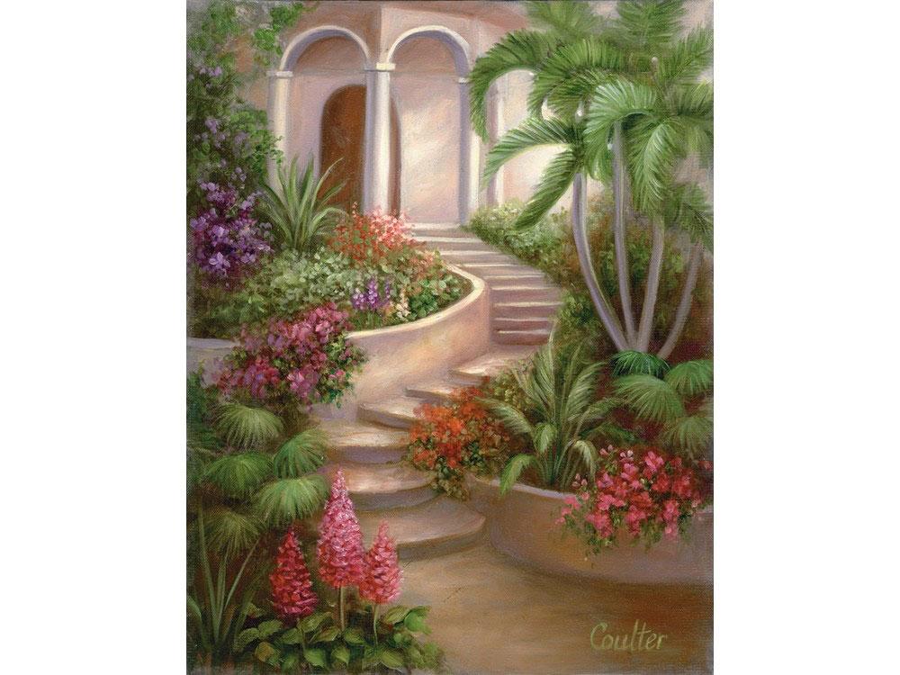 Картина по контурам гризайль «Испанский садик» Линды Коултер