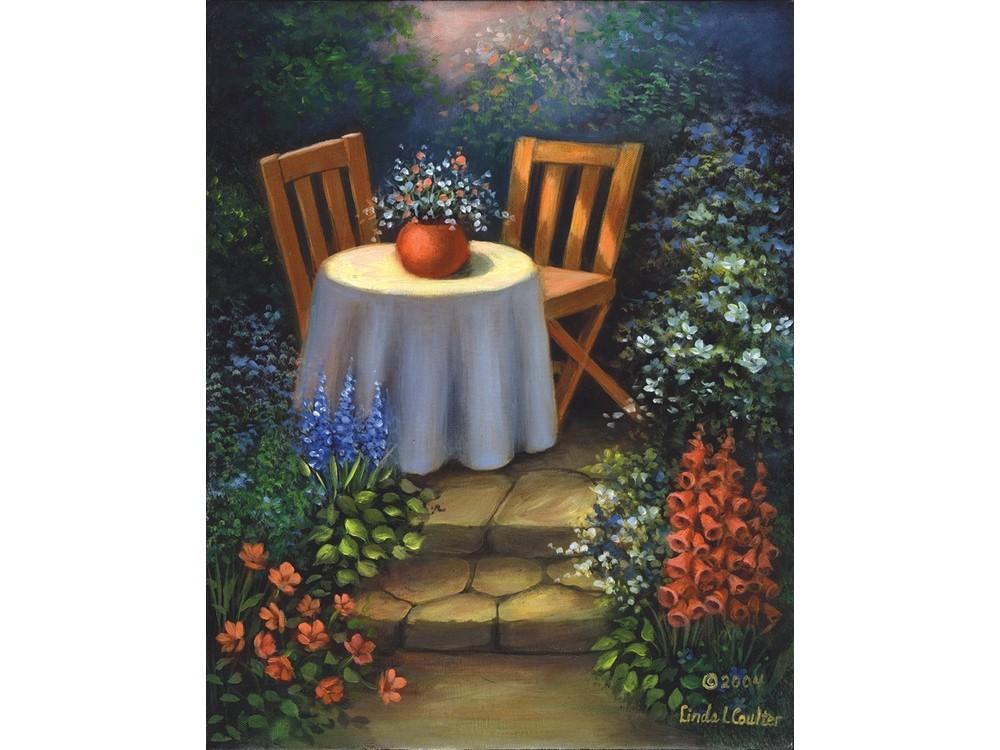 Картина по контурам гризайль «В саду» Линды Коултер