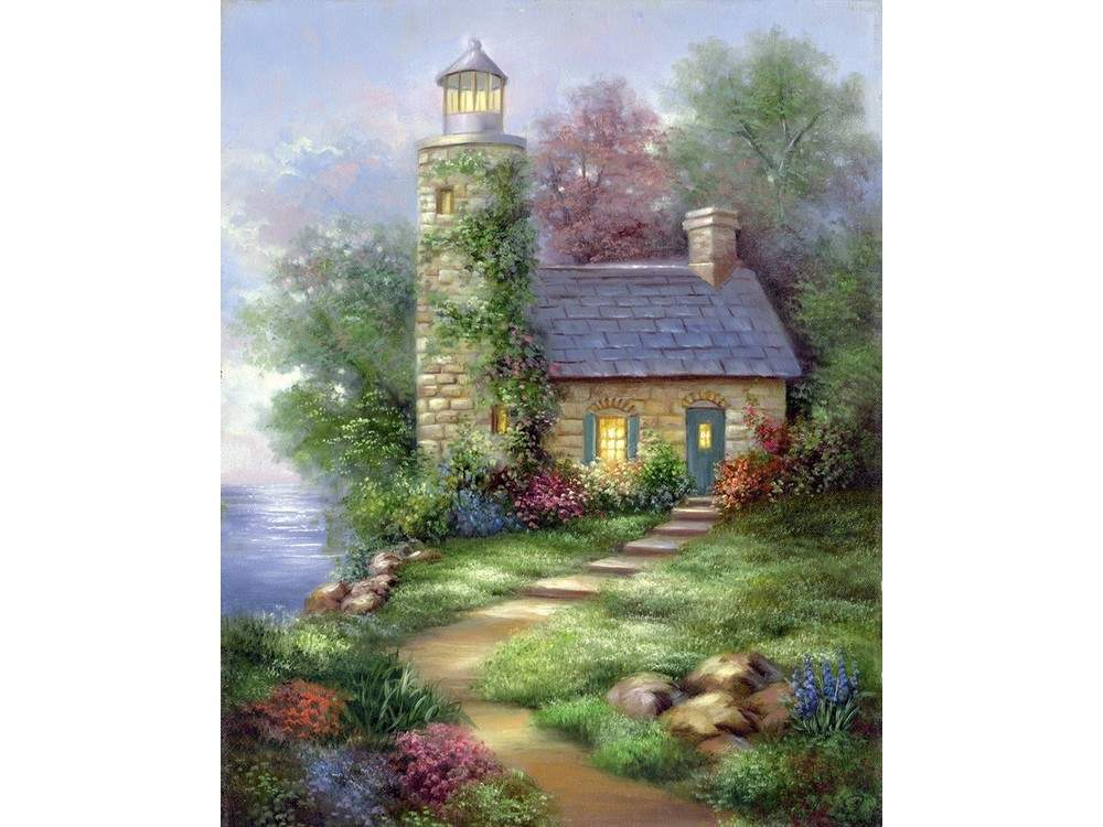Картина по контурам гризайль «Романтический маяк»