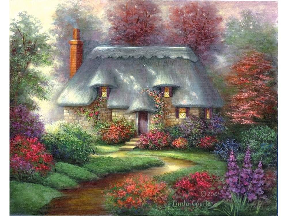Картина по контурам гризайль «Романтический коттедж» Линды Коултер