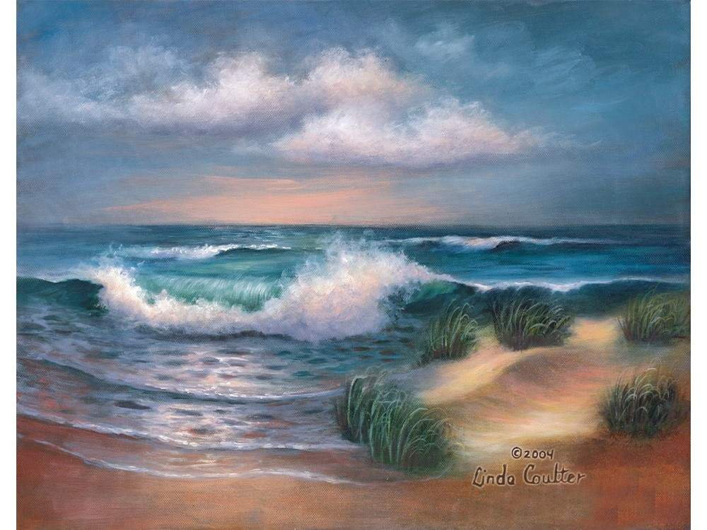 Картина по контурам гризайль «Пляж Хемптон» Линды Коултер