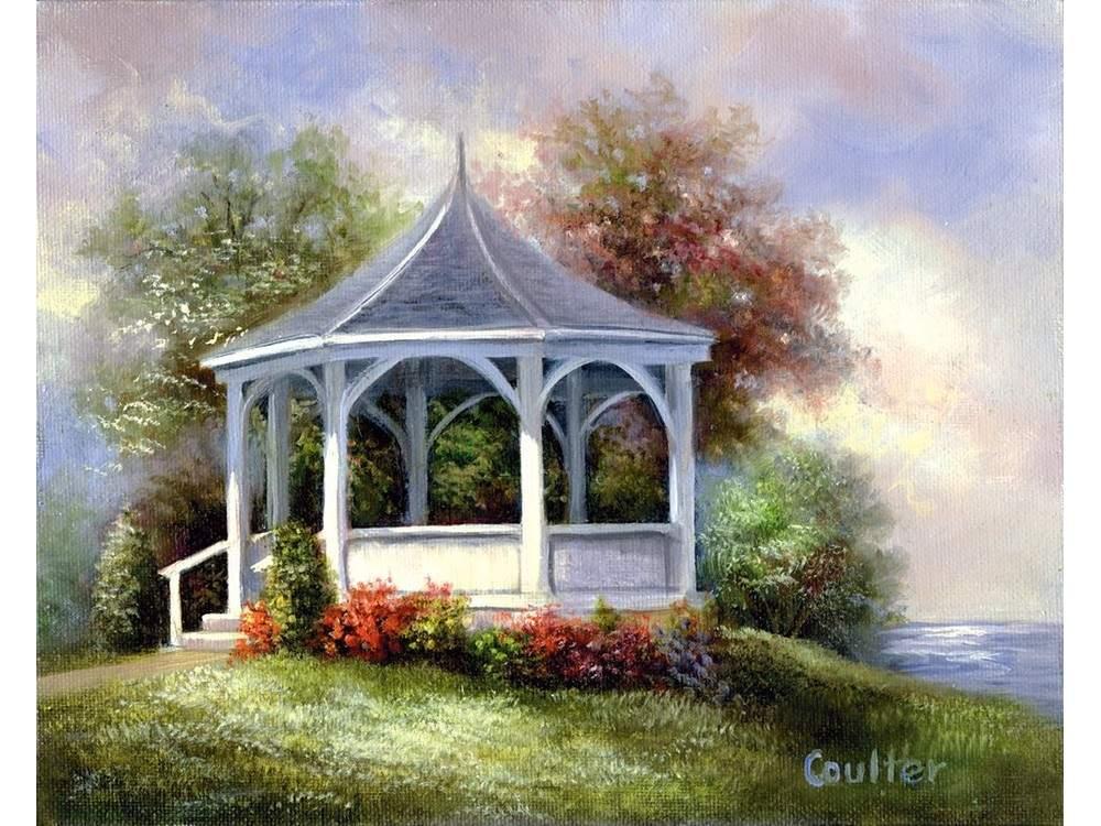 Картина по контурам гризайль «Беседка» Линды Коултер