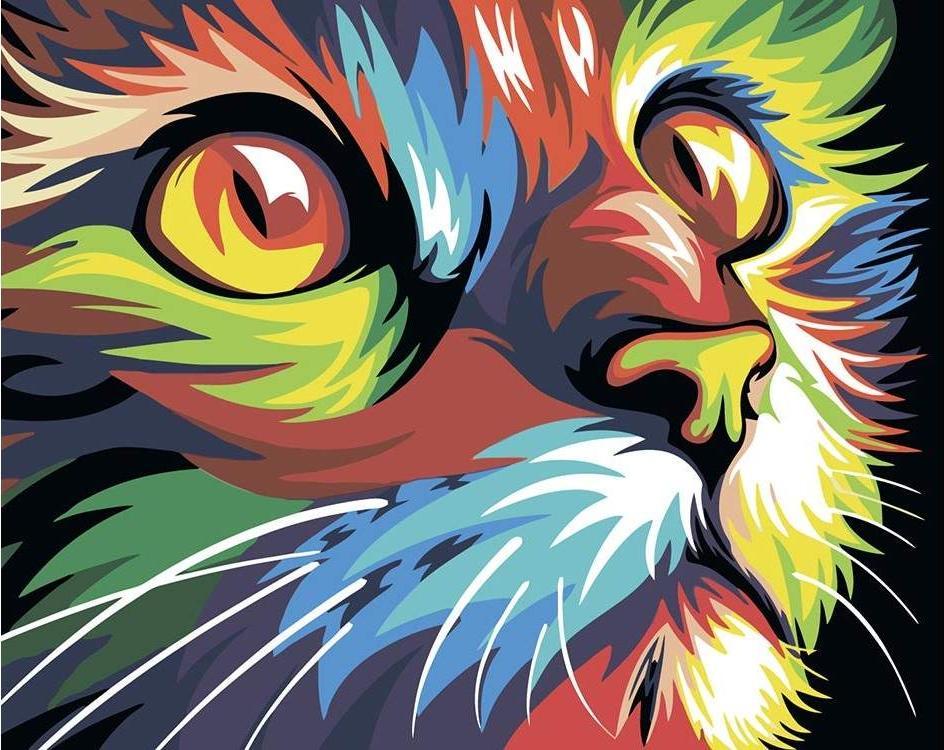 Купить Картина по номерам «Радужный кот» Ваю Ромдони, Живопись по Номерам, Китай