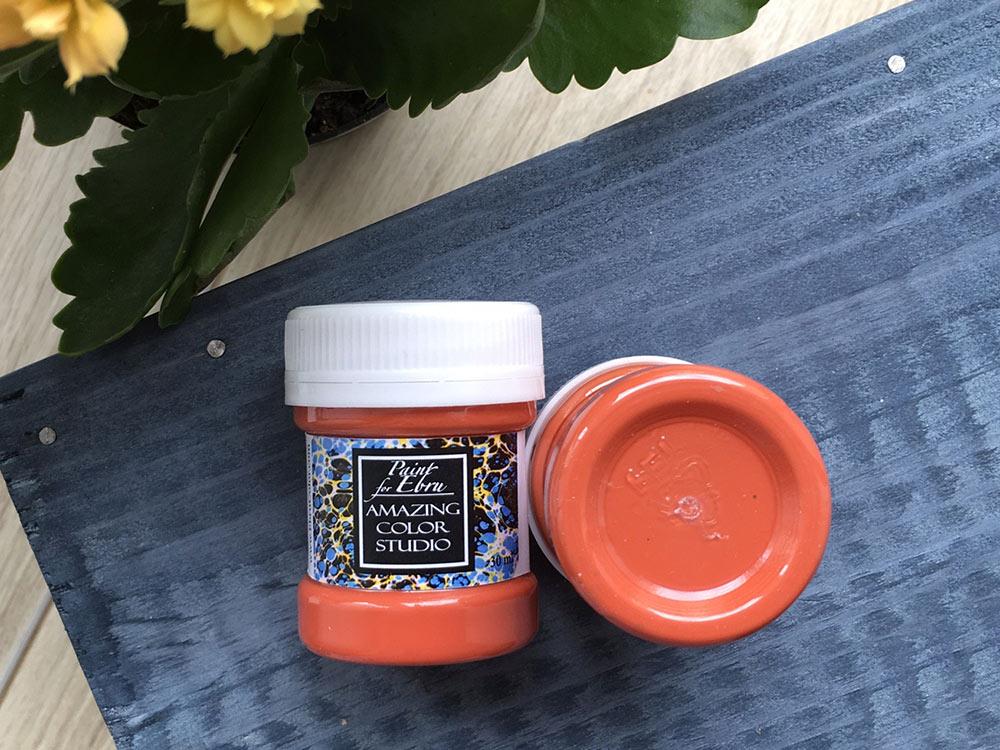 Купить Краска для эбру оранжевая 30 мл, Amazing Color