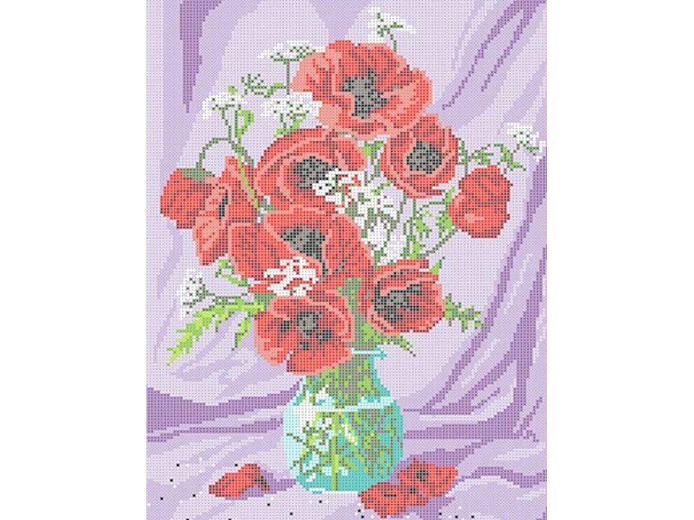 Купить Вышивка крестом, Набор для вышивания «Маки в вазе», Каролинка