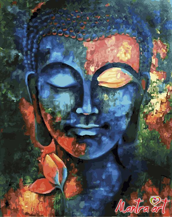 Купить Картина по номерам «Лик Будды» + в наборе подарок, Mantra Art, Россия
