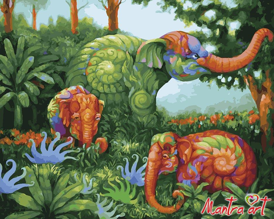 Купить Картина по номерам «Слоны» + в наборе подарок, Mantra Art, Россия